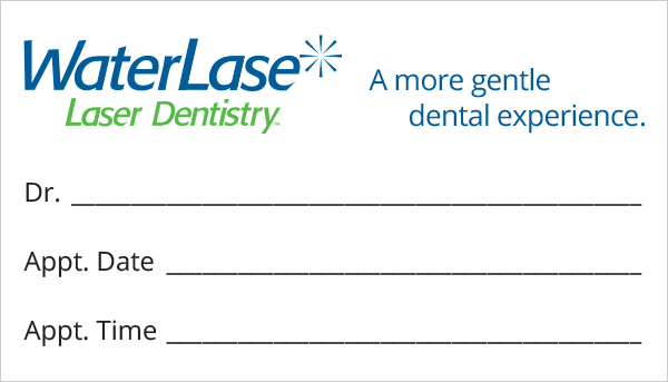 appointment card waterlase dentistry - Dental Appointment Cards